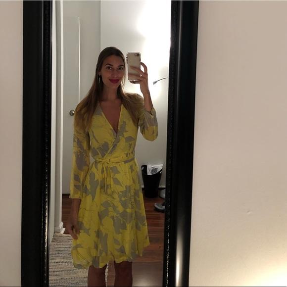Zara Dresses & Skirts - Zara yellow and gray pattern wrap dress